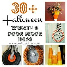 30+ Halloween Wreaths and Door Decor... awesome roundup of some great crafts on #www.craftquickies.com