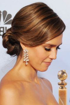 Jessica Alba hair statement rhinestone fringe earrings #wedding It's about more than golfing, boating,  and beaches;  it's about a lifestyle!  www.pamelakemper.com KW #jewelry