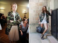 camo jacket +lace crop top+ pleated skirt.
