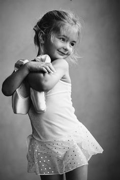 Cute little Girl in her Ballet Dancing Class in Black and White.