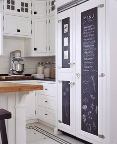 If an expanse of refrigerator paneling seems like wasted space, try putting it to use with chalkboard panels. This family-friendly kitchen includes a generously sized side-by-side refrigerator/freezer which provided plenty of surface space for menus, shopping lists, schedules, and creative doodling.