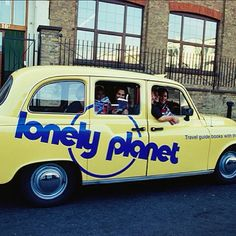 1998: A #London taxi is painted in honour of the first edition of the Lonely Planet's London Guide. Typically taxis were all black with no special paint jobs. The LP taxi was originally supposed painted for one year -- but years later, founder Tony Wheeler saw it driving by while trying to hail a cab from a theatre in Soho! This photo was snapped just outside the former #LonelyPlanet office in #KentishTown, #Camden, #London. #ThrowbackThursday #TBT