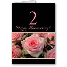 Happy 2nd Anniversary roses Greeting Card