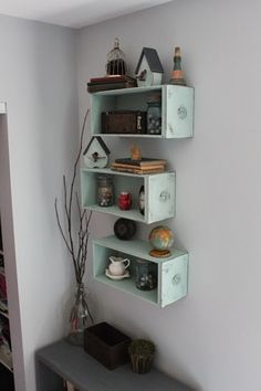using drawers as wall shelves