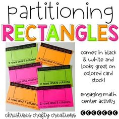 26 Partitioning rectangles activities for students! These work great for small group instruction, whole group activities, and math centers! They come in black and white and also look great if printed on colored paper! I like to laminate mine and let students write on them with dry erase markers! High School Classroom, Elementary Teacher, Elementary Education, Math Lesson Plans, Math Lessons, Math Centers, Math Stations, 2nd Grade Math, Fourth Grade