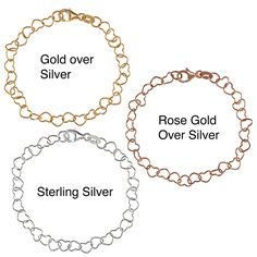Sterling Essentials Silver 7-inch Sweehearts Charm Bracelet | Overstock.com = $18