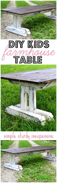 Easy to follow plans to build this adorable and super sturdy children's farmhouse table!  featured on Ella Claire
