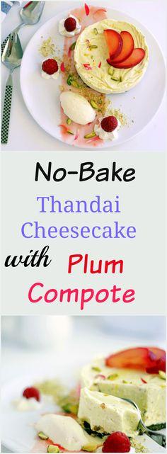 no-bake-thandai-cheesecake-with-plum-compote fusion dessert for holi using thandai masala indian dessert indian sweet