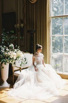The belle of the ball. 😍 Everything about this @madelinetrentphotography image is absolutely divine! She sure knows how to combine light and dark to create a stunning bridal portrait. 🙌 | LBB Photography: @madelinetrentphotography #stylemepretty #weddingdress #weddinggown