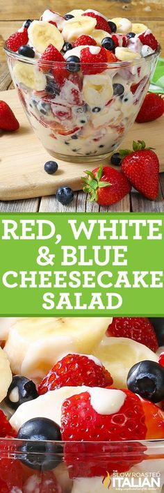 Red, White and Blue Cheesecake Salad comes together so easy with fresh fruit and a rich and creamy cheesecake filling to create the most glorious fruit salad ever! Every bite is absolutely bursting wi (Creamy Cheesecake Recipes) Fruit Recipes, Summer Recipes, Holiday Recipes, Dessert Recipes, Cooking Recipes, Coctails Recipes, Fruit Snacks, Dishes Recipes, Fruit Party