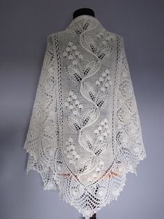 "Photo from album ""Узоры,схемы"" on Yandex. Lace Knitting Patterns, Shawl Patterns, Lace Patterns, Knitting Designs, Knitting Stitches, Crochet Shawls And Wraps, Knitted Shawls, Tricot D'art, Knitting Socks"