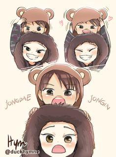 Jondae and Jongin fanart Kaisoo, Chanbaek, Exo Chen, Exo Kai, Suho, K Pop, Exo Fanart, Memes Exo, Exo Cartoon