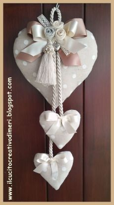 Heart Decorations, Valentine Decorations, Valentine Crafts, Christmas Crafts, Christmas Decorations, Valentines, Christmas Ornaments, Fabric Hearts, Fabric Flowers
