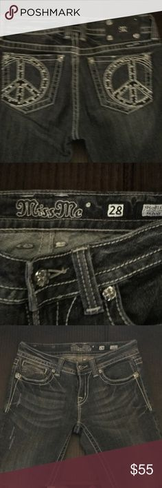 Miss me jeans 💥💥💥💥💥Miss me black with peace signs on the back pockets that are embellished ... such cute jeans on ... very flattering and formfitting they are Skinny's !!  In great shape .. only worn 3-4 times ! Miss Me Jeans Skinny
