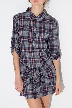 Plaid Self Tie Shirt Neck Dress