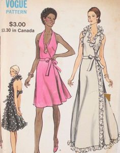 70s Vogue 8355 Sewing Pattern Front Wrap Evening Dress Size 12 Bust 34 Uncut FREE US SHIPPING by LifeAfterFashion on Etsy