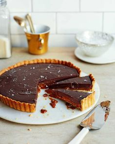 """1,561 Likes, 32 Comments - delicious. magazine UK (@deliciousmag) on Instagram: """"Chocolate, dulce de leche and a scattering of sea salt – this is the ultimate tart 😍 (for the…"""""""