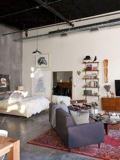 Design Apartment, Studio Apartment Decorating, Apartment Interior, Bedroom Apartment, Bedroom Decor, Apartment Ideas, Studio Apartment Layout, Minimalist Studio Apartment, Bedroom Ideas