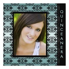 Teal Black Damask Picture Sweet 15 Quinceanera Card