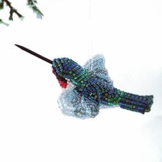 Hummingbird Christmas Ornament Beaded Bird Holiday by MeredithDada, $46.00