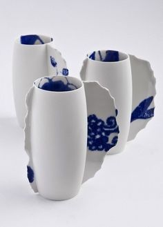 "Blue and white mugs - on the inside and with a ""seam""- beautiful!"