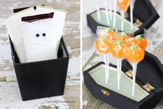 Mummy Chocolate Bars paired with Lollipop Coffins for Halloween fun with livelaughrowe.com I really like the coffin display