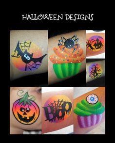 Cute halloween one stroke designs for cheek art or arm designs
