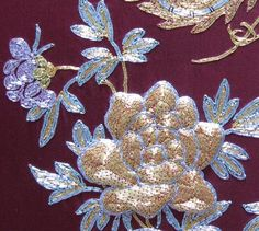Detail of Chinese hand made solid gold thread embroidered peony,
