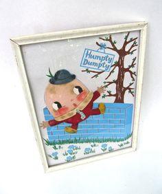 Irmi Nursery Rhyme Fabric Collage Framed Humpty by worldvintage