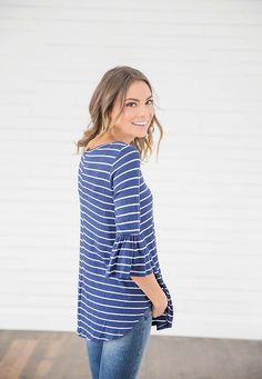 b68db842e4944 Navy Blue Striped Top from Bella Ella Boutique Online Store. Womens Online  Clothing Boutique.