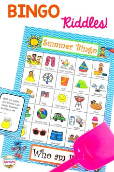 Rhyming riddles make this summer speech therapy activity extraordinarily fun! Perfect for your end of the year classroom party too. Kids love this guessing the riddles to play, You'll love that its fun, super easy Nanny Activities, Language Activities, Summer Activities, Preschool Speech Therapy, Speech Therapy Activities, Riddle Games, Rhyming Riddles, Literacy Skills, Speech And Language