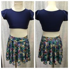 Two Piece Floral and Navy Blue Dancewear Set