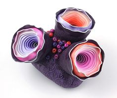 Tri-Pod Sculpture by Dorothy Siemens, made from polymer clay