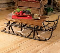 Hickory U0026 Antler Sleigh Coffee Table   Would Be Really Cute At Christmas  Time