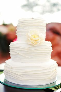Wedding Cake - only change have ribbon around the middle layer and one or two flowers on middle layer off centre instead of on top of the top layer
