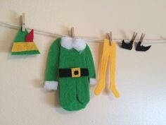 If your family loves to watch the movie Elf every Christmas than this is the Christmas clothesline decoration for you! This clothesline includes only Buddys clothes, but if you like the clothesline in the last picture that also includes Jovis clothes please purchase the additional