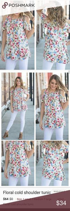 "Floral cold shoulder tunic   Floral cold shoulder tunic. Beautiful top for spring and summer! 95% Rayon 5% Spandex Bust: S-18"", M-19"", L-20"" Length: S-29"", M-30"", L-31"" Infinity Raine Tops Tunics"