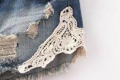 Navy Bleached Ripped Lace Denim Shorts - Sheinside.com