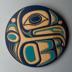 Red cedar and acrylic eagle panel by salish artist Jim Charlie