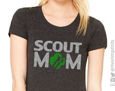 GIRL SCOUT MOM, glittery sparkle tee shirt