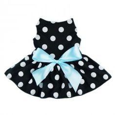 Robe noire à pois blanc avec boucle bleu pâle - 39.99$