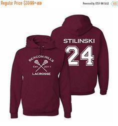 Teen Wolf Hoodie, Stiles Stilinski 24, Beacon Hills Lacrosse Sweatshirt, GIft…