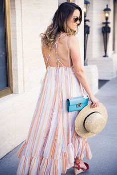SALE ALERT: rainbow stripe maxi dress - currently 30% OFF! | #OOTD by Houston Fashion Blogger @_Anna_English on Instagram!