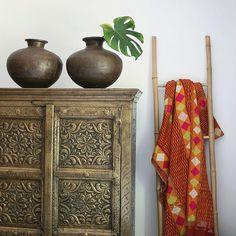 #indian #waterpots #phulkari #textiles #indiancabinet #philodendron #apartmentf15