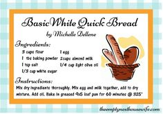 Looking for a delicious corn, soy, dairy AND yeast free basic white quick bread? Check out the Empty Nest Recipe Box for more yummy allergy and mast cell disease friendly recipes.