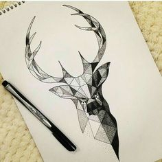 Images for request geometric deer tattoo - - Geometric Deer, Geometric Drawing, Geometric Lines, Geometric Tattoo Animal, Modern Drawing, Geometric Nature, Tattoo Sketches, Tattoo Drawings, Art Drawings
