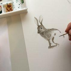 Hare watercolor in progress by Louise Dean