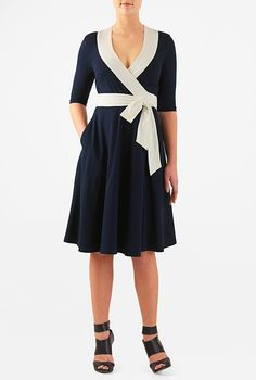 I <3 this Contast trim cotton knit wrap dress from eShakti