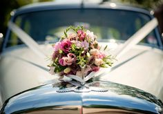 wedding car inspiration decor flowers and ribbon. Wedding by Tara Aherne Photography