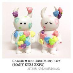 MANY SWEETS UAMOUキャンディハーツ✨ UAMOU x REFRESHMENT TOY [MANY EYES EXPO] 7.25.(金) - 27.(日) STUDIO UAMOU様にて☆金・土は在廊します(^^) #uamou #refreshmenttoy #sofubi #customtoy